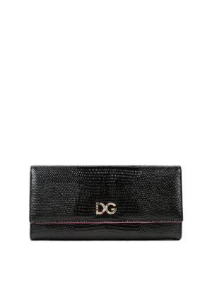 DOLCE & GABBANA: portafogli - Portafoglio in pelle Dauphine stampa rettile