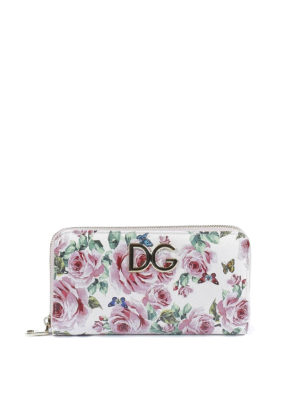 Dolce & Gabbana: wallets & purses - Rose print Dauphine leather wallet