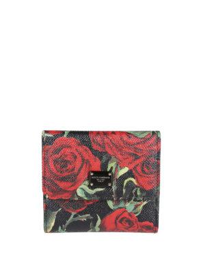 DOLCE & GABBANA: portafogli - Portafoglio piccolo in pelle stampa rose