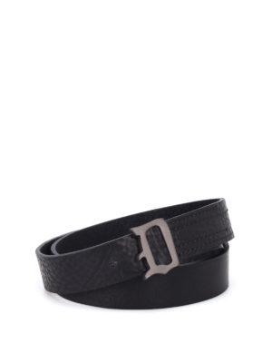 Dondup: belts - Burnished metal buckle leather belt