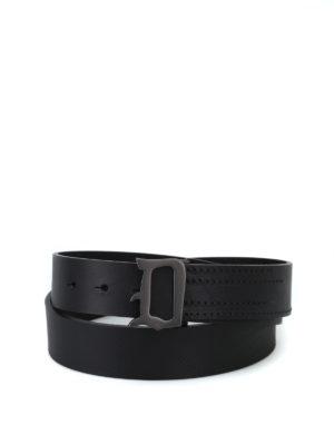DONDUP: cinture - Cintura con fibbia logo in metallo brunito