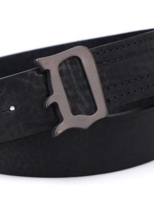 Dondup: belts online - Burnished metal buckle leather belt