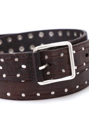Dondup: belts online - Silver rivet detail leather belt