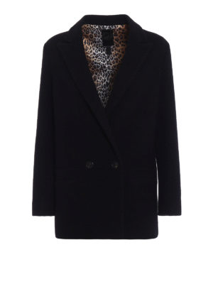 Dondup: blazers - Black boiled wool blazer