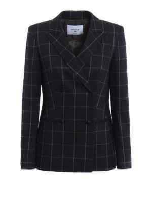 Dondup: blazers - Mhina check wool blend blazer