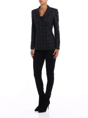 Dondup: blazers online - Mhina check wool blend blazer