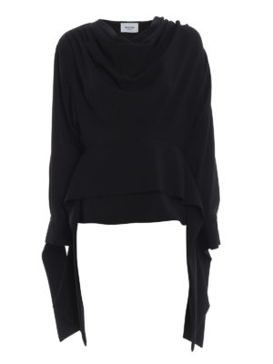 DONDUP: bluse - Blusa in cady con drappeggio