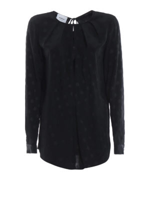DONDUP: bluse - Blusa nera in misto seta a pois