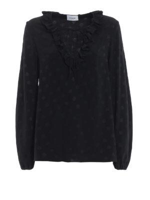 DONDUP: bluse - Blusa nera misto seta a pois con ruche