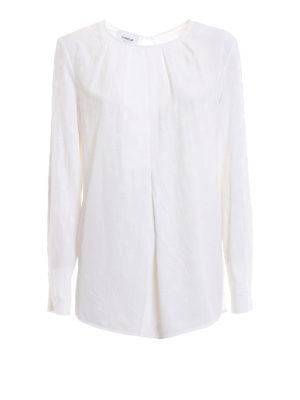 DONDUP: bluse - Blusa bianca in misto seta a pois