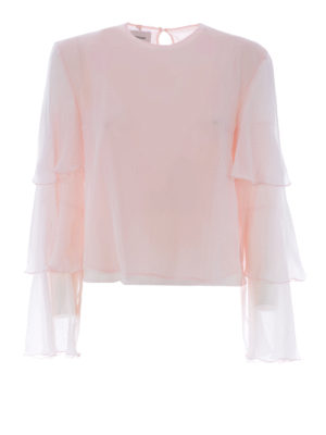 Dondup: blouses - Flounced sleeves silk blouse