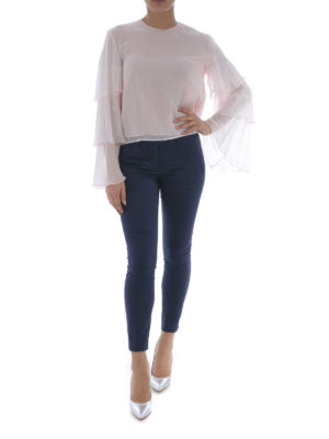 Dondup: blouses online - Flounced sleeves silk blouse