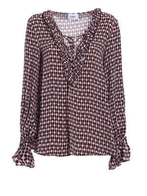 Dondup: blouses - Printed viscose oversized blouse
