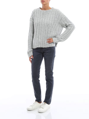 Dondup: boat necks online - Lurex rib knitted sweater