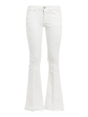 Dondup: bootcut jeans - Neon ripped and worn out jeans