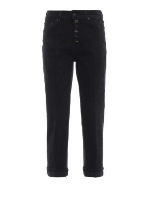 DONDUP: Boyfriend - Jeans neri Koons in denim macchiato