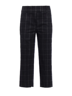 Dondup: capris - Ivy check pattern wool trousers