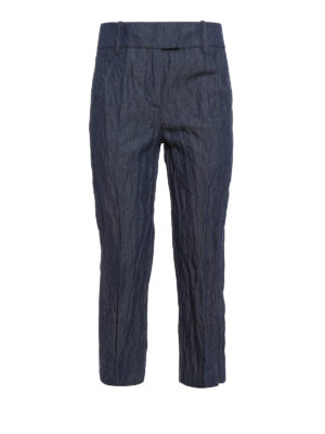 Dondup: capris - Ivy wrinkled cotton crop trousers