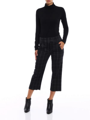 Dondup: capris online - Ivy check pattern wool trousers