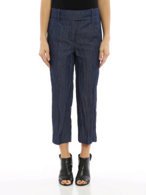 Dondup: capris online - Ivy wrinkled cotton crop trousers