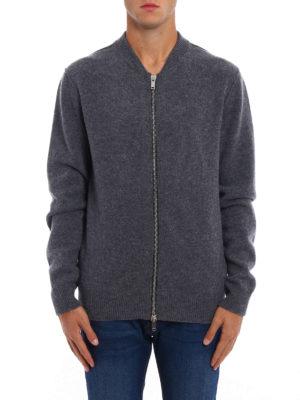 Dondup: cardigans online - Zipped grey merino wool cardigan