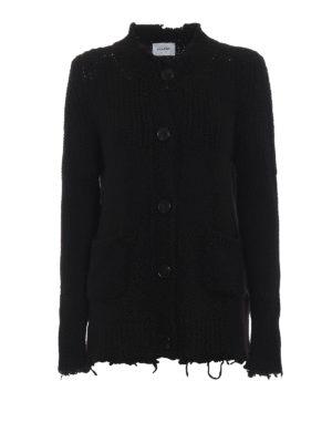 DONDUP: cardigan - Cardigan nero abbottonato bordi non rifiniti