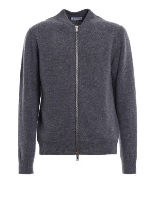 Dondup: cardigans - Zipped grey merino wool cardigan