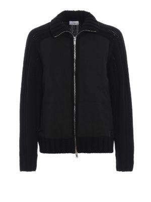 DONDUP: cardigan - Cardigan collo lato con zip e pannelli nylon