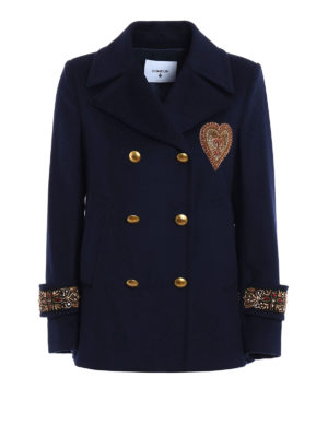Dondup: casual jackets - Jewel appliques peacoat