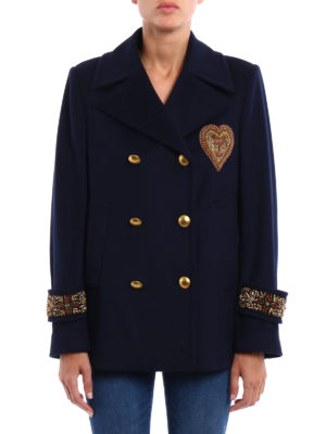 Dondup: casual jackets online - Jewel appliques peacoat