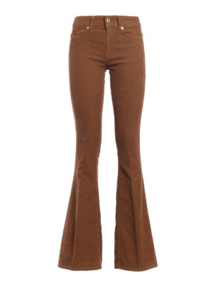 Dondup: casual trousers - Akon ribbed velvet flared trousers
