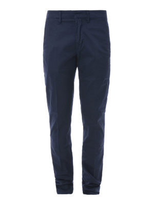 DONDUP: pantaloni casual - Pantaloni Bryan cotone stretch blu