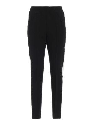 DONDUP: pantaloni casual - Pantaloni Candela neri con bande bianche
