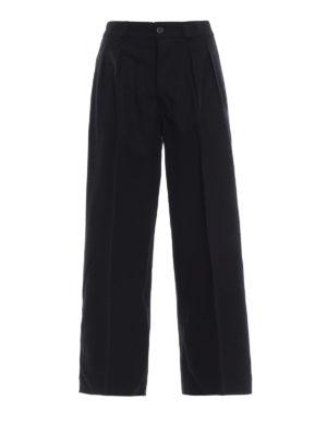 DONDUP: pantaloni casual - Pantaloni neri Eloisa larghi in lana