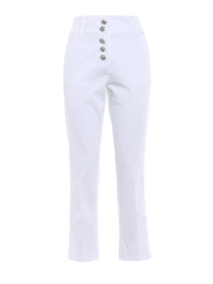 Dondup: casual trousers - Fairey jewel button white trousers