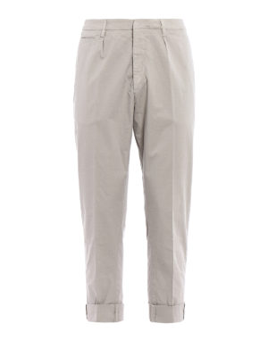 Dondup: casual trousers - Frankie beige cotton chino trousers