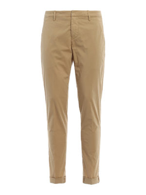 Dondup: casual trousers - Gaubert beige stretch cotton chinos