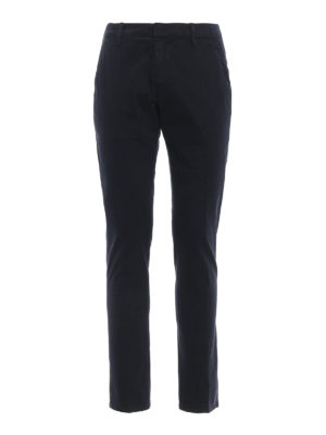DONDUP: pantaloni casual - Pantaloni blu Gaubert in cotone stampato