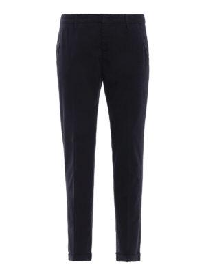 DONDUP: pantaloni casual - Pantaloni Gaubert in misto cotone blu scuro