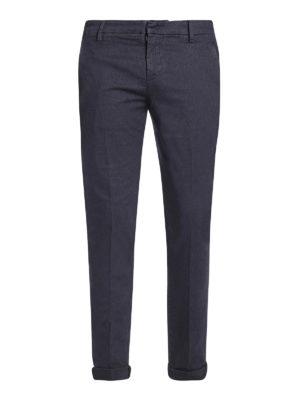 DONDUP: pantaloni casual - Pantaloni Gaubert cotone blu con micro motivo