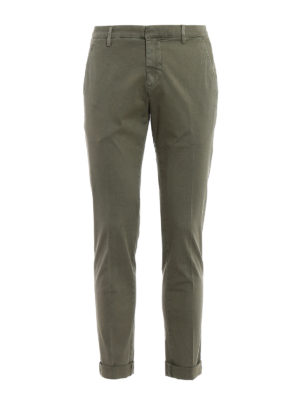 Dondup: casual trousers - Gaubert green cotton trousers