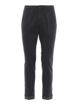 DONDUP: pantaloni casual - Pantaloni Gaubert cotone grigio micro motivo