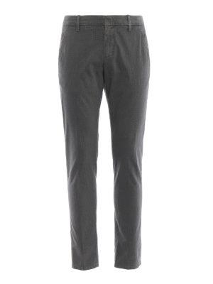 DONDUP: pantaloni casual - Pantaloni grigi Gaubert in cotone stampato
