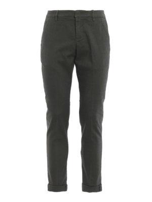 DONDUP: pantaloni casual - Pantaloni Gaubert in cotone oliva con motivo