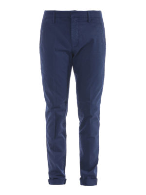 Dondup: casual trousers - Gaubert solid blue cotton trousers