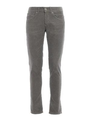 DONDUP: pantaloni casual - Pantaloni George in velluto grigio a coste