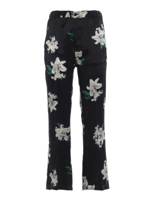 Dondup: casual trousers - Lightness printed satin trousers