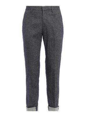 Dondup: casual trousers - Linen denim Patrick trousers