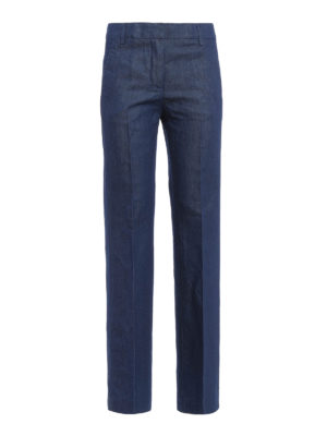 Dondup: casual trousers - Marion cotton linen flared trousers