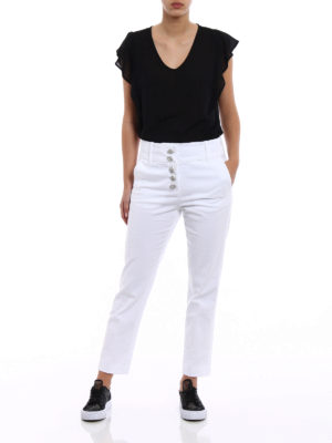 Dondup: casual trousers online - Fairey jewel button white trousers